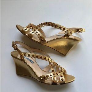Prada Gold Studded Multi Strap Sandals